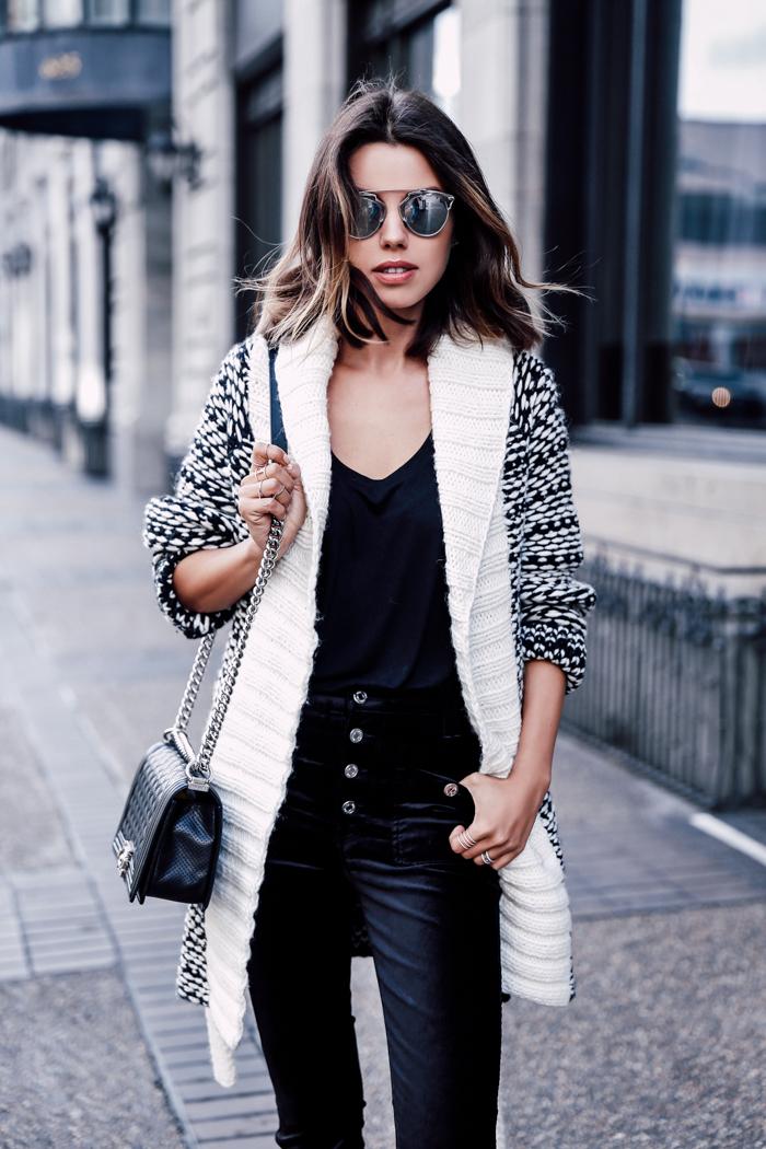 Black velvet blazer and jeans